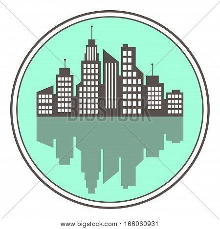City Logo, Vector Building Web Icon, Label, Button, Urban Landscape,  Silhouettes, Cityscape, Town S