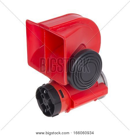 Electric horn for car isolated on white. Red horn for car