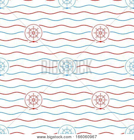 Seamless Pattern with Cargo Ship, Emblem Blue Barge in the Middle of a Rope on a Background of Blue Waves , Seamless Pattern with Marine Element for Web Design or Wallpaper or Fabric