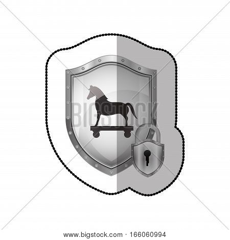 middle shadow sticker of shield with trojan horse and padlock vector illustration
