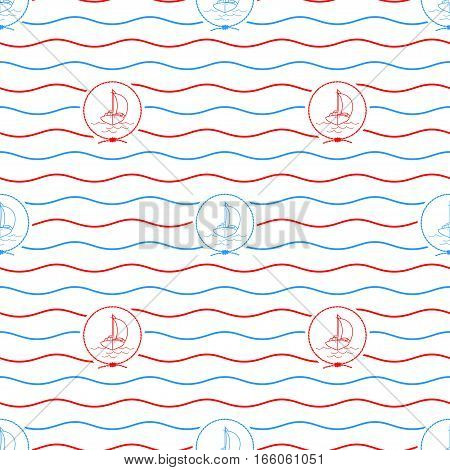 Seamless Pattern with Yacht ,Emblem Blue and Red Sailboat on a Background of Red and Blue Waves , Seamless Pattern with Marine Element for Web Design or Wallpaper or Fabric