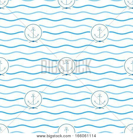 Seamless Pattern with Anchor, Emblem Blue Anchor in the Middle of a Rope on a Background of Blue Waves ,Seamless Pattern with Marine Element for Web Design or Wallpaper or Fabric