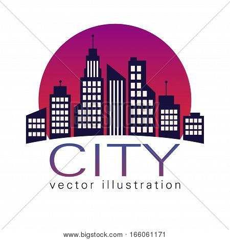 City Logo,  At Sunset, Vector Building Web Icon, Label, Urban Landscape,  Silhouettes, Cityscape, To