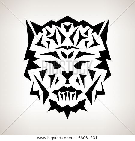 Abstract Mask, Tribal Style, Tattoo Mask on a Light Background, Black and White Illustration