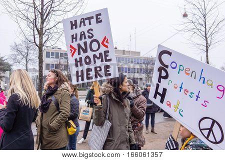 Women march en masse in front of US embassy in Copenhagen against Donald Trump Janyary 21 2017