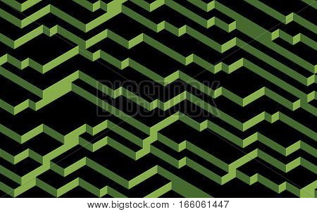 Greenery on black computer generated abstract background 3D render