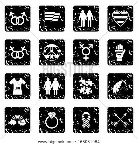 Lgbt icons set in grunge style isolated on white background vector illustration