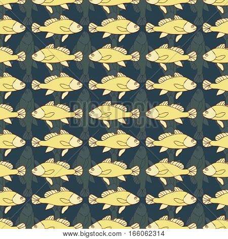 Drawn Cartoon Fish Seamless Pattern, Nautical Vector Background. Abstract  In A Row, Repeating Eleme