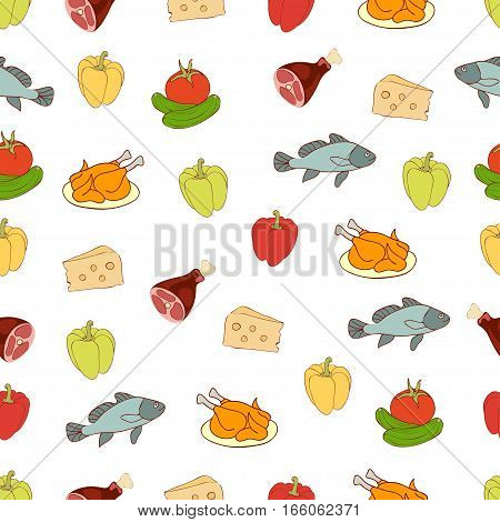 Food Vector Background, Seamless Pattern. Drawn Cartoon Multicolored Foodstuffs On A White . For The