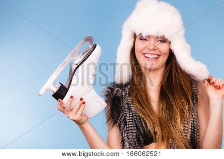 Fur Cap And Smiling Lady.
