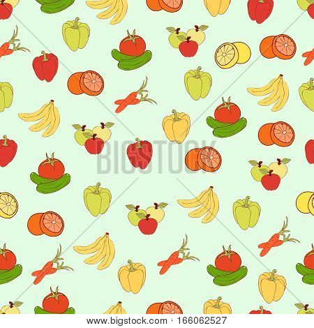 Food Vector Background, Fruits And Vegetables Seamless Pattern. Drawn Cartoon Multicolored Foodstuff