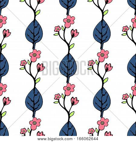 Abstract Flowers And Leaves Seamless Pattern, Vector Background. Blue   Pink  On A White . Hand Draw