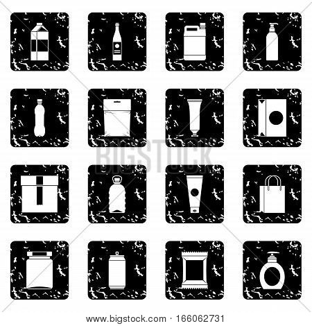 Packaging items icons set in grunge style isolated on white background vector illustration