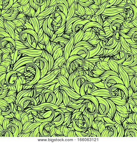 Abstract Scrollwork Seamless Pattern, Vector Background. Green Plants, Grass, Curls, Waves. Natural