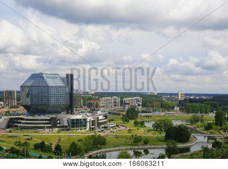 Minsk Belarus traffic on Independence Avenue the National Library of July 21 2014 urban architecture top view editorial