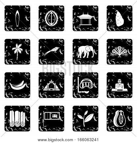 Sri Lanka travel icons set in grunge style isolated on white background vector illustration
