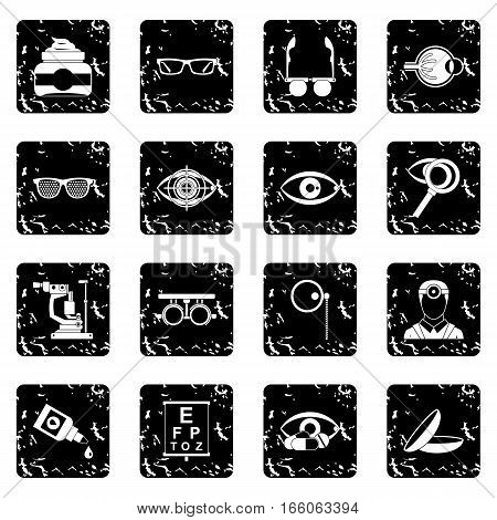 Ophthalmologist tools icons set in grunge style isolated on white background vector illustration