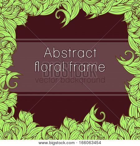 Abstract Floral Frame Plant, Vegetable Background, Cover, Card, Invitation, Banner.  Of Colorful Scr
