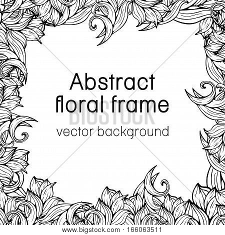 Abstract Floral Frame Plant, Vegetable Background, Cover, Card, Invitation, Banner, Coloring Book.
