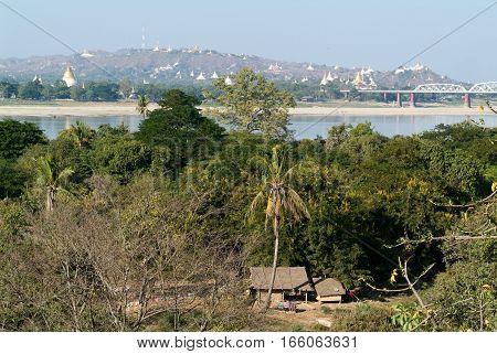 View to Sagaing hill and Soon U Ponya Shin pagoda on Myanmar