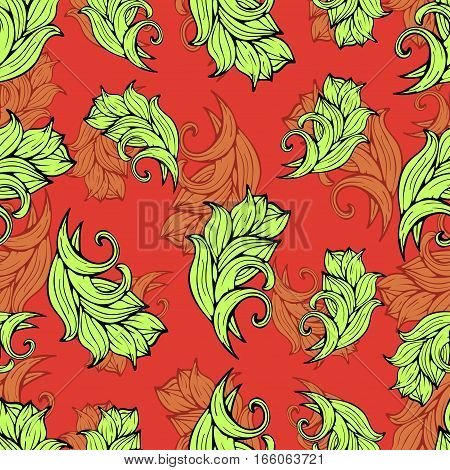 Abstract Flowers And Plants Seamless Pattern, Vector Background. Natural Stylized Ornament. Hand Dra