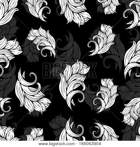 Abstract Flowers And Plants Seamless Pattern, Vector Black  White Background, Monochrome. Natural St