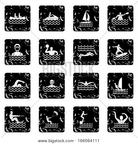 Water sport icons set in grunge style isolated on white background vector illustration