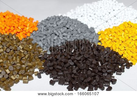 Plastic pellets. Colorant for plastics. Pigment in the granules.Polymeric dye.