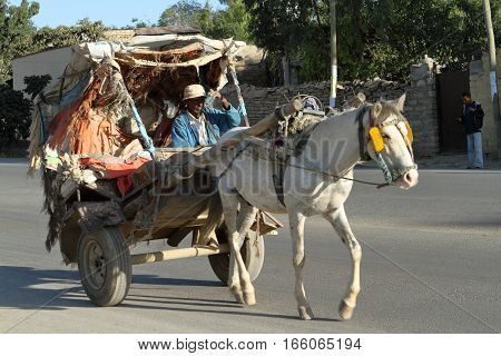 Horse carriage in the streets of Mekele in Ethiopia
