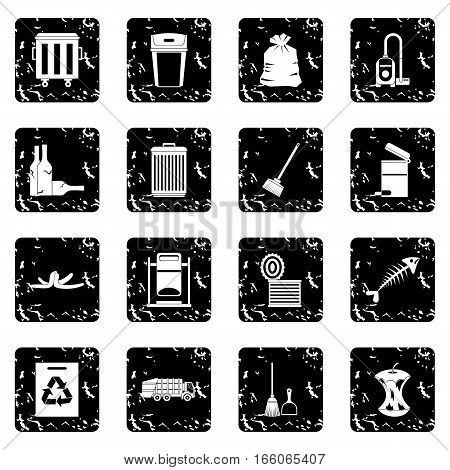 Garbage thing icons set in grunge style isolated on white background vector illustration
