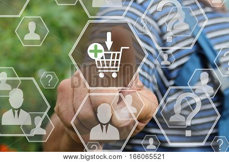 Farmer businessman  clicks on the shopping cart web on the touch screen the web network .The concept of online auctions.