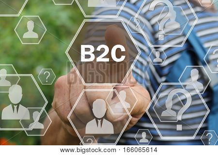 Farmer businessman  pressing button B2C  on virtual screens in the web network.The concept of The business consultant .