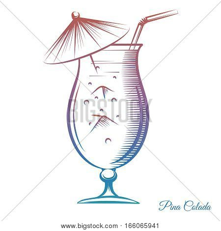 Colorful cocktail Pina Colada isolated on white background. Hand drawn party summer cocktail vector ilustration