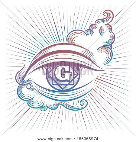 Colorful spiritual eye vector design isolated on white background