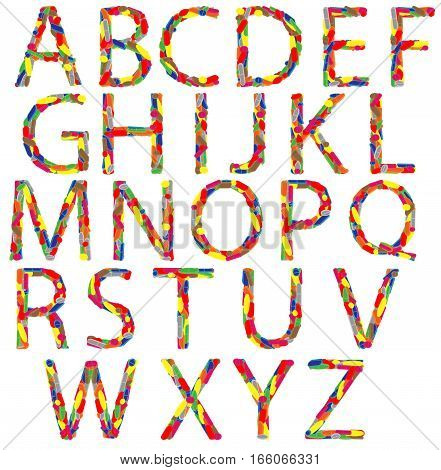 Alphabet made of different colored drugs against diseases