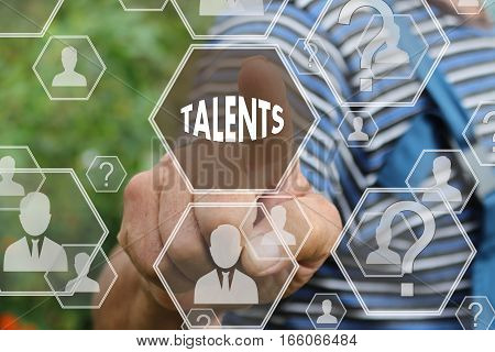 The concept is searching for talented personnel.Farmer businessmann clicked on the search for talented employees, qualified specialists in the field of the newest