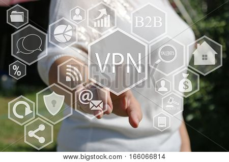 Businesswoman pressed a button VPN, Virtual Private Network on the touch screen .