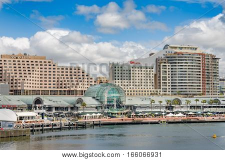 SYDNEY AUSTRALIA - OCTOBER 13, 2016 : A view of the to the Novotel and the Hotel Ibis at Harbourside near Darling Harbour Sydney Australia.