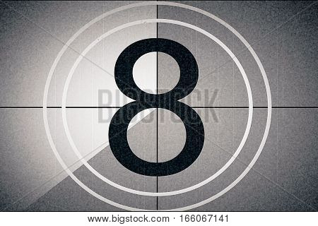 universal film leader symbol counting down from 8