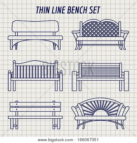 Garden bench thin line icons set vector. Bench on notebook background