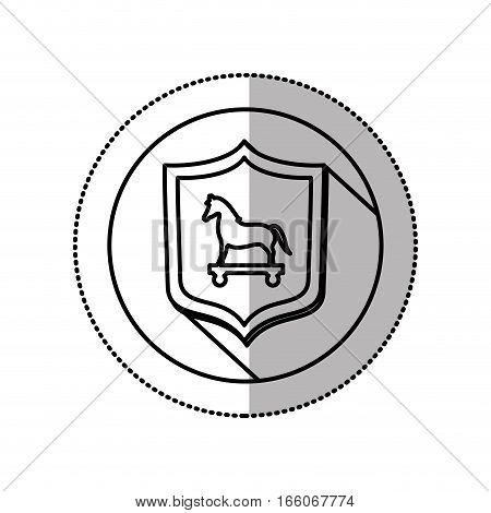 monochrome middle shadow sticker with circle with shield and trojan horse vector illustration