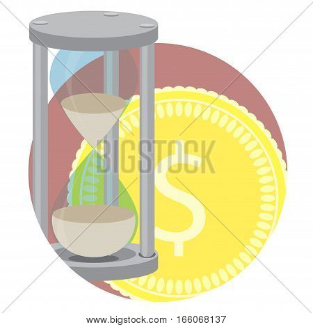 Time money business vector icon. Hourglass and income golden coin dollar illustration