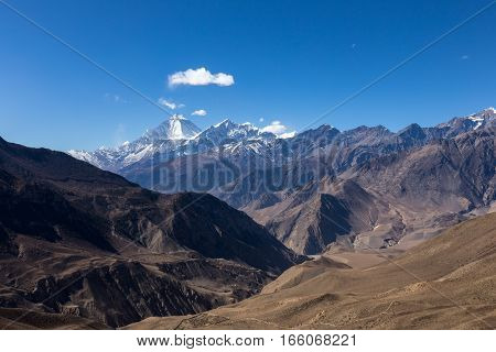 Mount Dhaulagiri and Tukuche Peak seen from Muktinath. Scenery on the way from Muktinath to Jomsom Nepal.