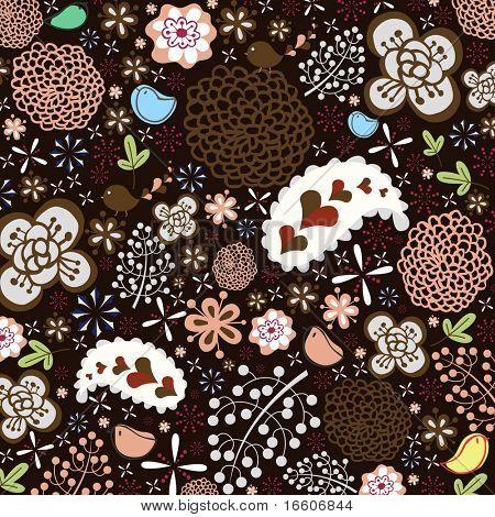 cool retro flora wallpaper design