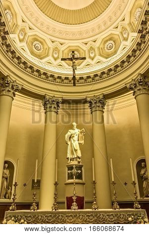 San Marino Republic of San Marino - June 15 2016: The altar in the Basilica di San Marino a Catholic church located in the Republic of San Marino.