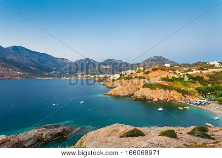 Bali Island Crete Greece - June 21 2016: Morning scenery with mountains sea and houses of village Bali located on the coast.