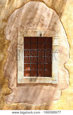 Rethymnon Island Crete Greece - June 23 2016: View on the old building of orthodox church located in Fortezza Castle in Rethymnon