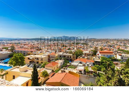 Rethymnon Island Crete Greece - June 23 2016:Panorama of city Rethymnon. View from wall of Fortezza Castle