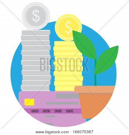 Capital gain flat icon vector. Financial growth and increase investment illustration