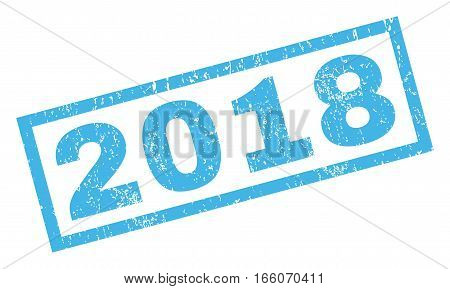 2018 text rubber seal stamp watermark. Tag inside rectangular banner with grunge design and scratched texture. Inclined vector blue ink sticker on a white background.